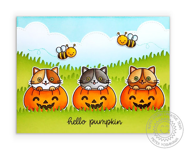 Sunny Studio Blog: Kitty Cats in Jack-o-latern Pumpkins with Bumblebees Handmade Halloween Card With Stitched Cloud and Grass Borders (using Scaredy Cat Stamps & Slimline Nature Border Dies)