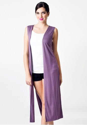 Sleeveless Long Cardigan Bahan Katun Rayon Warna Ungu