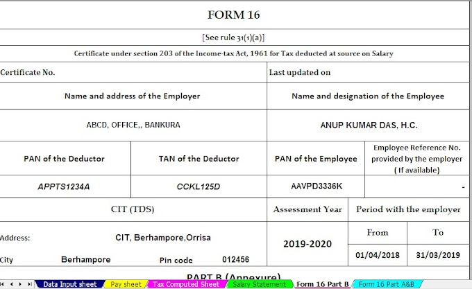 Free Download Automated Income Tax One by One Preparation Excel Based Form 16 Part B for F.Y. 2018-19