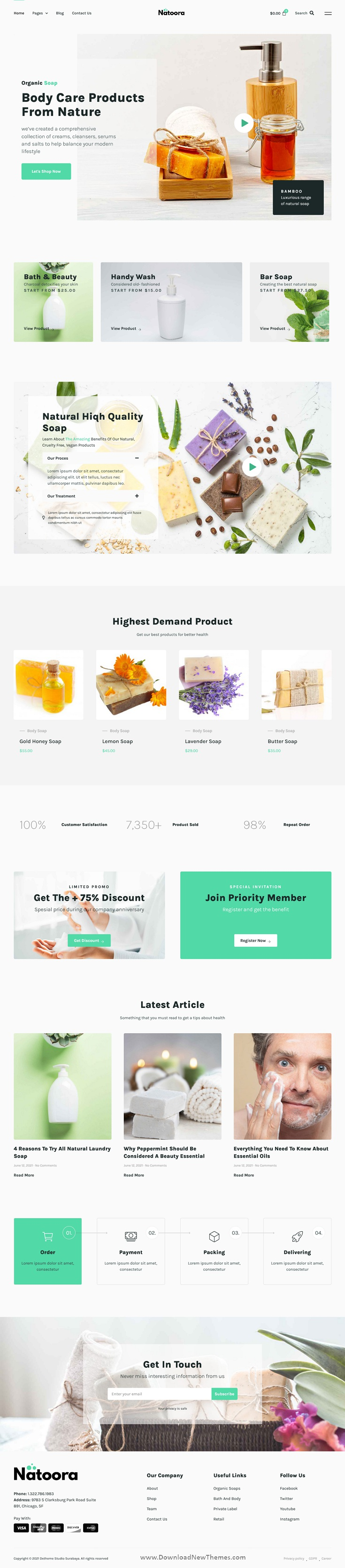 Natoora - Natural & Organic Soap Shop Elementor Template Kit