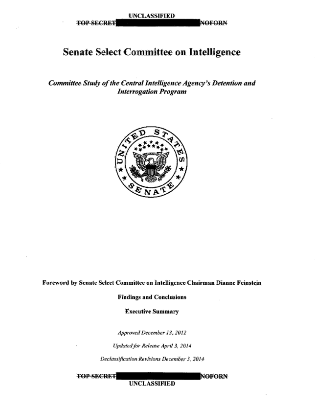 Committee Study of the Central Intelligence Agency's Detention and Interrogation Program report in Washington