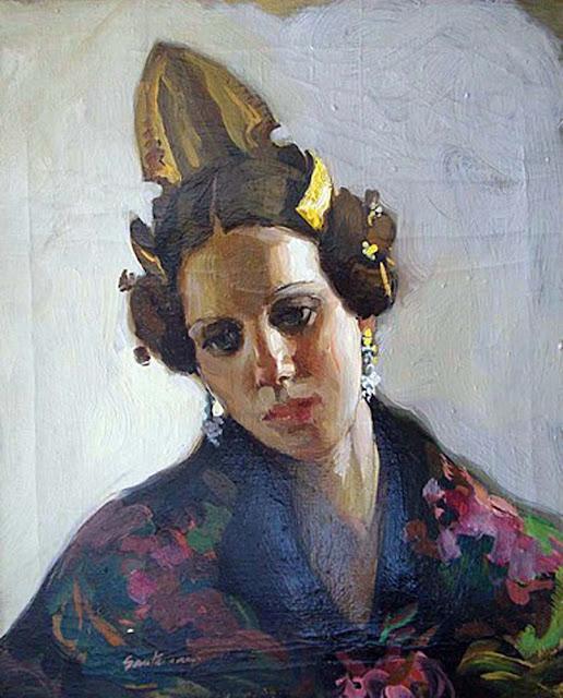 Felipe Santamans, Fallera Valenciana, Pintor Valenciano, Pintura Costumbrista Valenciana, Pintura Valenciana, Valencianas en pintura
