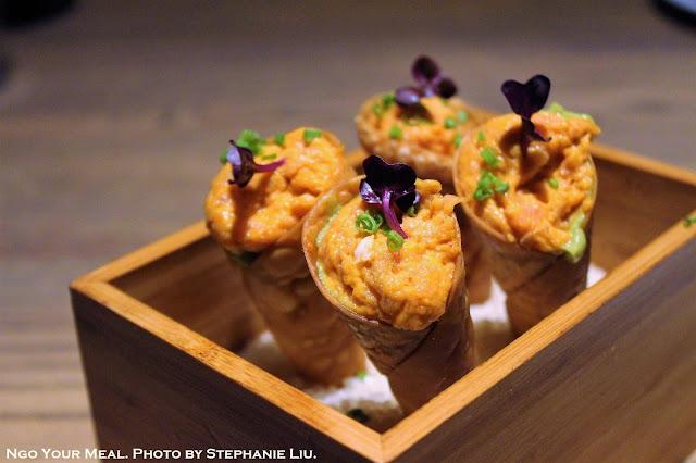 Spicy Tuna Tartare Cone with Avocado Purée, Micro Shiso, Wonton Skin at TsuruTonTan in New York City