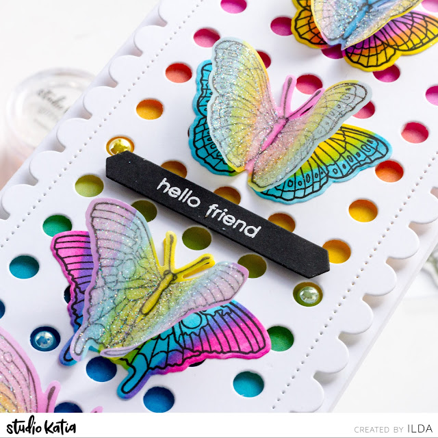 ink blending,Butterflies,card,copic markers,rainbow,DOTTED SLIMLINE SET 3,Studio Katia,Card Making, Stamping, Die Cutting, handmade card, ilovedoingallthingscrafty, Stamps, how to,