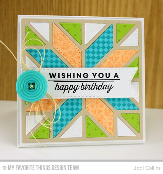 Handmade card from Jodi Collins featuring Lisa Johnson Designs Spring tulips stamp set, Tiny Stars Background stamp, and Stitched Fishtail Flag STAX and Quilt Square Cover-Up Die-namics #mftstamps