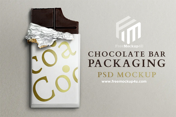 Chocolate Bar Packaging Mockup Design PSD