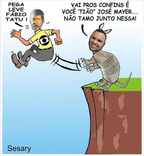 """O Cartunista Sesary Roberto Oliveira fez uma charge de um vereador chamado Fabio Tatu e o ator José Mayer , personagem """"Tião Bezerra""""."""