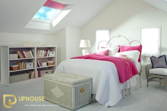 Phòng ngủ màu hồng trắng 07