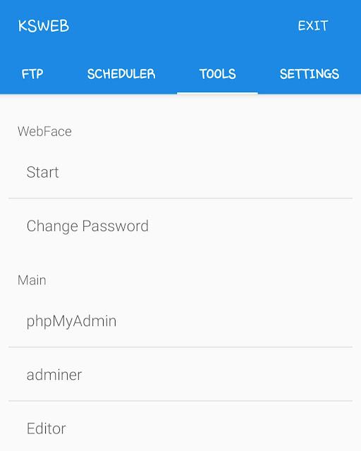 Setup phpMyAdmin on KSWEB app