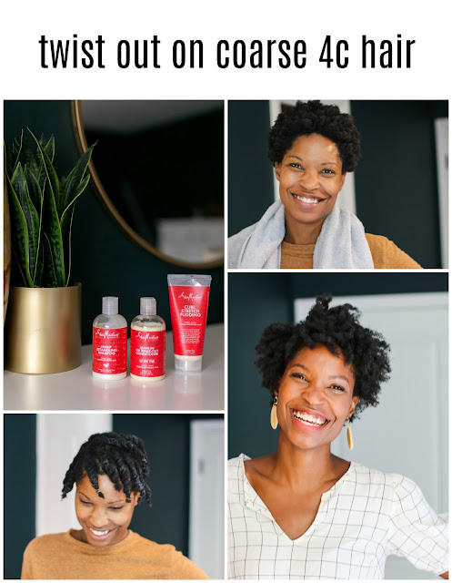 Twist out on coarse 4c hair with SheaMoisture Red Palm Oil products