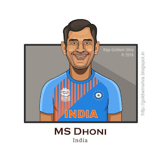 msdhoni cartoon caricature india
