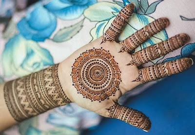 Colorful mehndi designs for front hand  for wedding