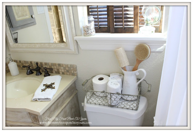 Farmhouse Guest Bathroom-Wire Basket- From My Front Porch To Yours