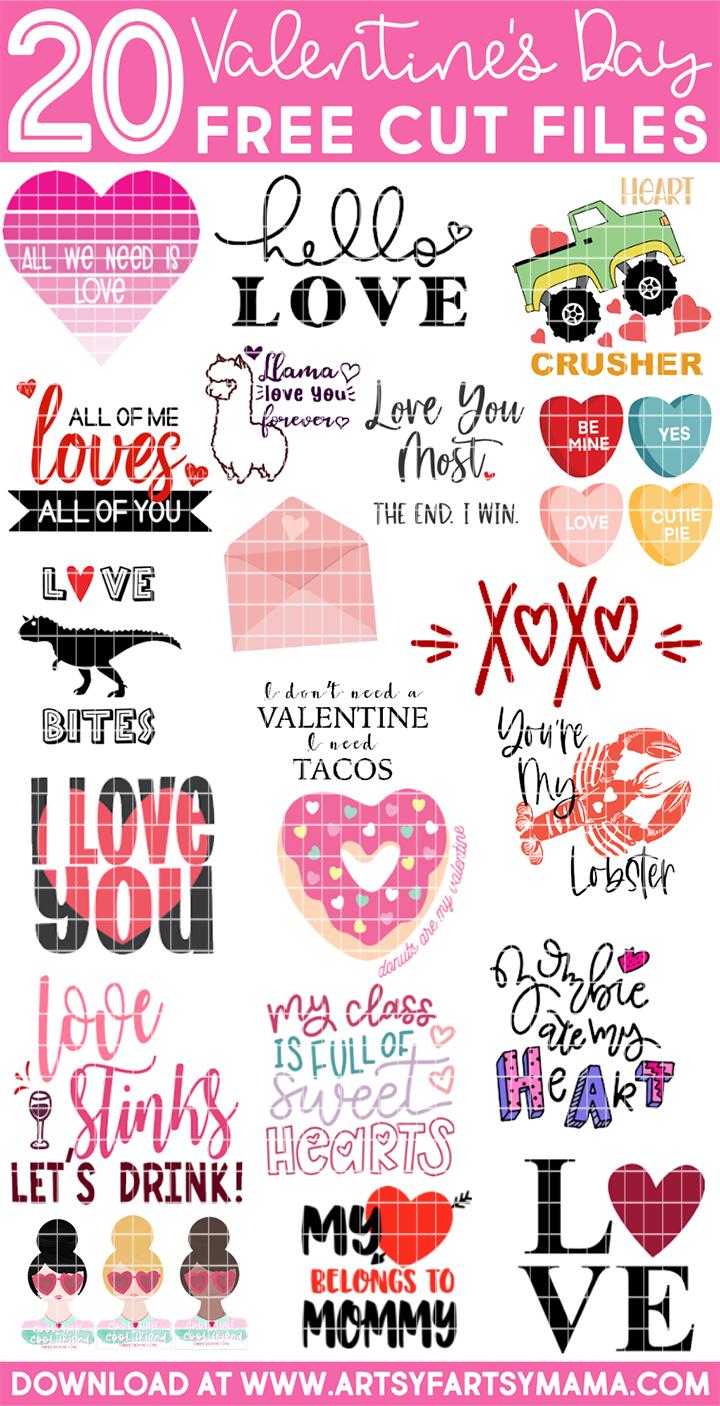 20 Free Valentine Cut Files