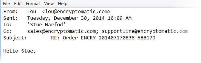 Image shows an email converted to text format by MS Outlook. It includes the email header info.