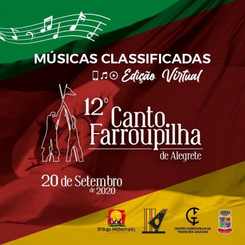 Músicas classificadas para o 12º Canto Farroupilha de Alegrete - Edição Virtual