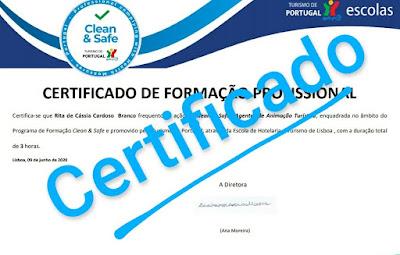 Certificado de participação da Formação do Selo Clean & Safe