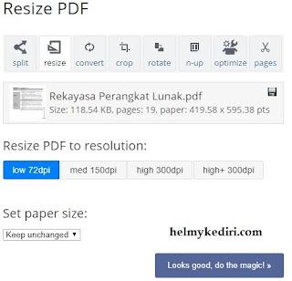 Memperbesar ukuran PDF dengan pdfresizer