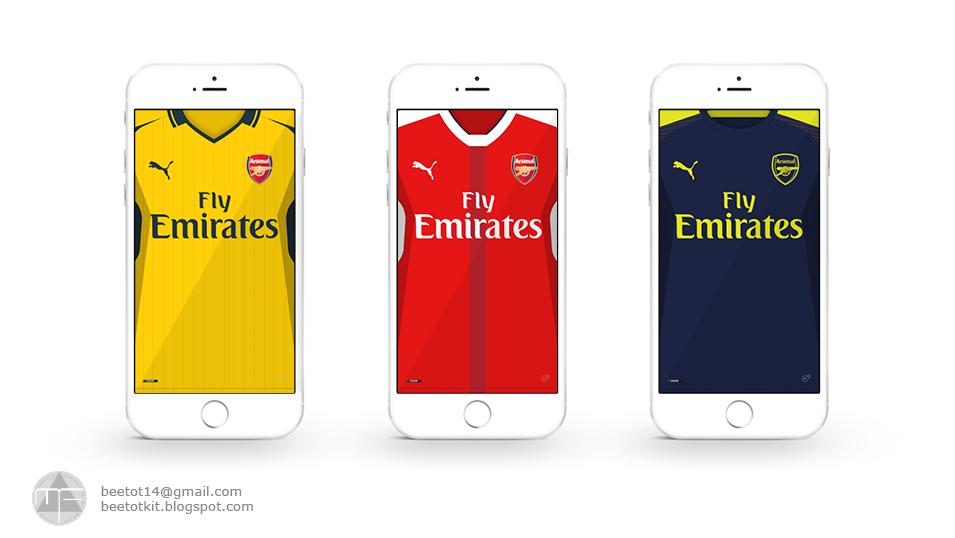 Beetot Kit: Arsenal FC Kit 16/17 Iphone 6 Wallpaper