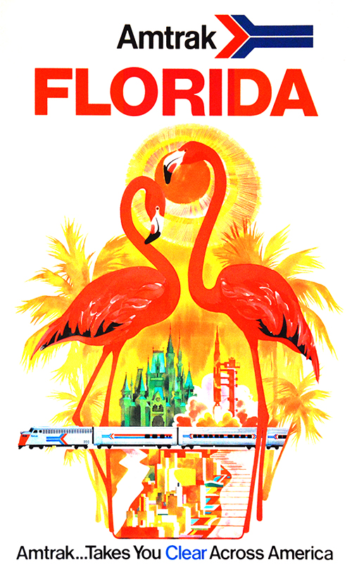 Amtrak Florida - Vintage Travel Poster, classic posters, free download, free posters, free printable, graphic design, printables, retro prints, travel, travel posters, vintage, vintage posters, vintage printables, vintage travel posters