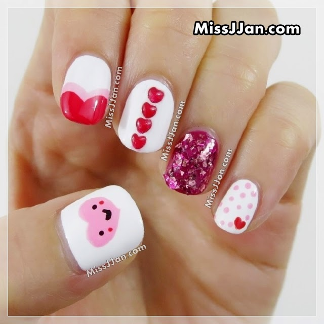 MissJJan's Beauty Blog : Valentine's Day Nail Art (5 Easy ...