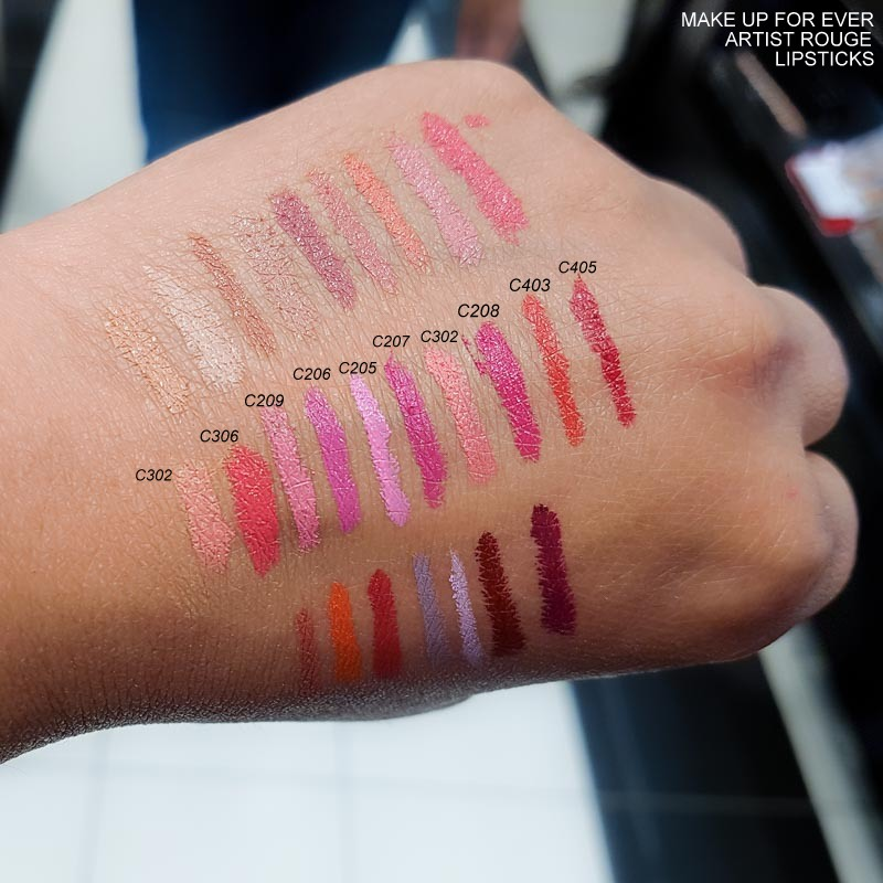 MUFE Make Up For Ever Artist Rouge Lipsticks - Swatches  C302 - C306 - C209 - C206 - C205 - C207 - C302 - C208 - C403 - C405