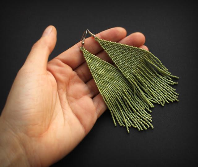 купить крупные серьги из бисера в стиле бохо бижутерия ручной работы ру
