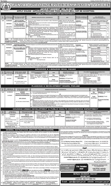 Punjab Public Service Commission PPSC Jobs October 2019