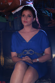 Mannara Chopra in Short Blue Dress at Rogue Movie Teaser Launch 1st March 2017 037.JPG