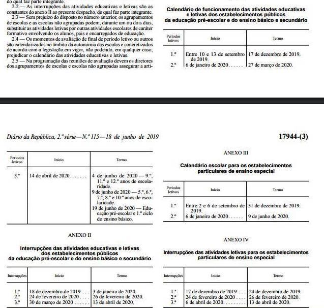 Calendario Dezembro 2019 Janeiro 2020.Estado De Barrancos Calendario Escolar Para 2019 2020