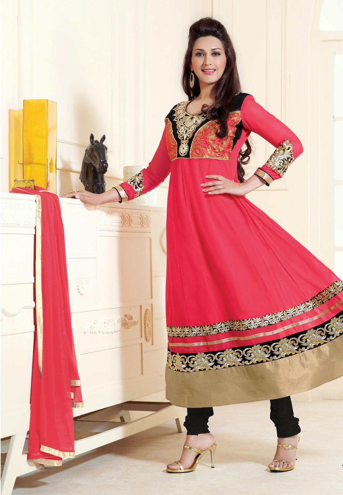 b6010d71a5 Sonali Bendre Designer Anarkali Suits for Parties @ Amazon Fabdeal UK