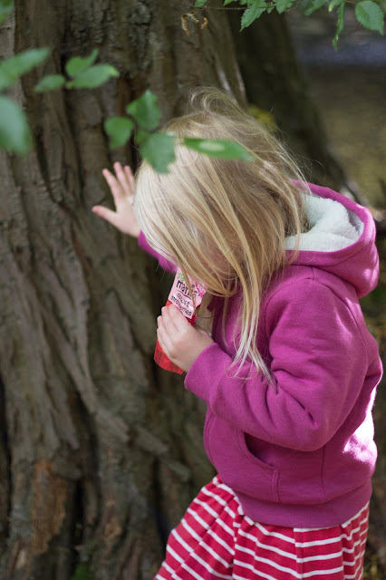 A young girl with blond hair and pink hoody sucks from a fruit pouch while holding on to a large tree trunk
