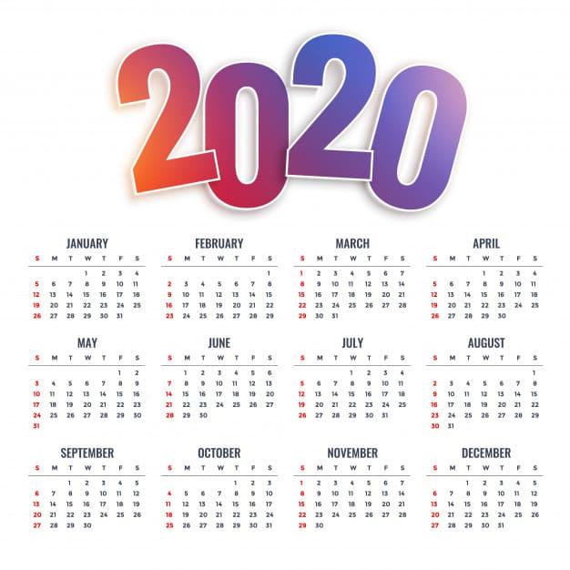 Calendario editable 2020 con colores degradado gratis