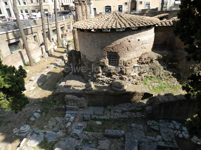 A tower stands among the ruins of the Largo di Torre Argentina