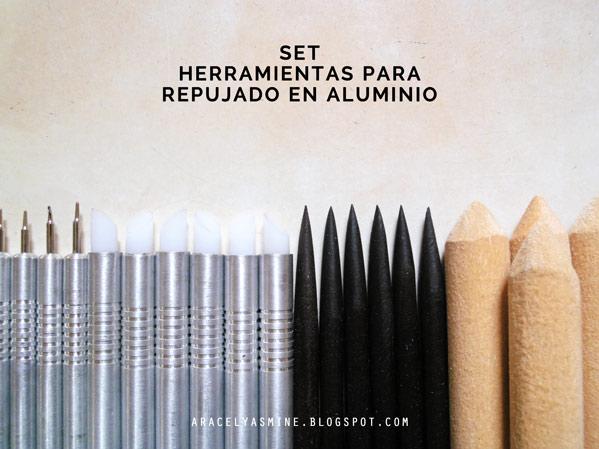 Set de herramientas para repujar en aluminio