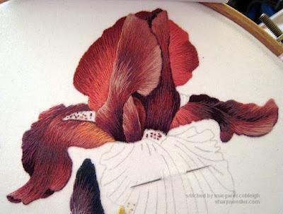 Thread painted iris upper petal complete - Iris Spartan (design by Trish Burr)