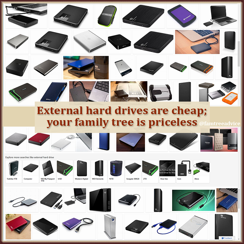 Make family tree safety a top priority. Start with an external hard drive.