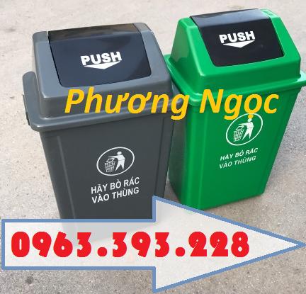 Thùng rác nhựa nắp bập bênh, thùng rác 60 Lít nắp lật, thùng rác công cộng NBB60L5