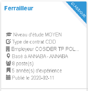Ferrailleur Employeur : COSIDER TP POLE M33 ANNABA