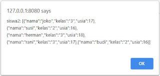 Tampilan JSON di browser dengan AJAX