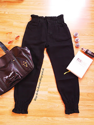 Fashion Ankle Banded Pants Black Female