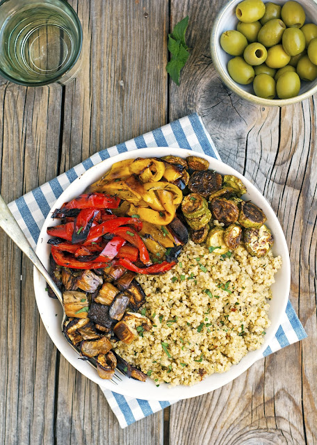 Quinoa alongside Roasted Vegetables as well as Olive-Mint Pesto