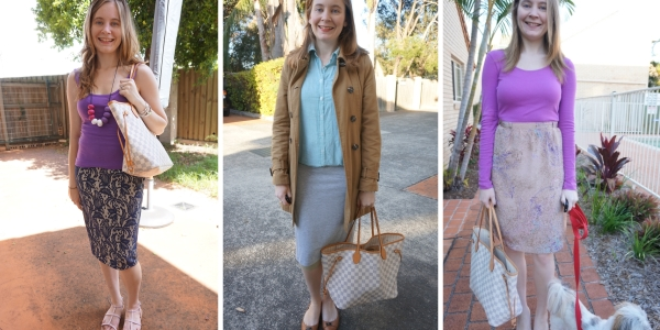 3 ways to wear Louis Vuitton Neverfull and Pencil Skirts | away from blue