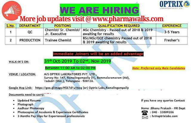 Optrix Laboratories - Walk-in interview for Freshers and Experienced candidates on 1st - 2nd November, 2019