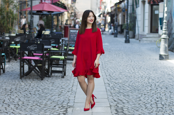 street style red dress
