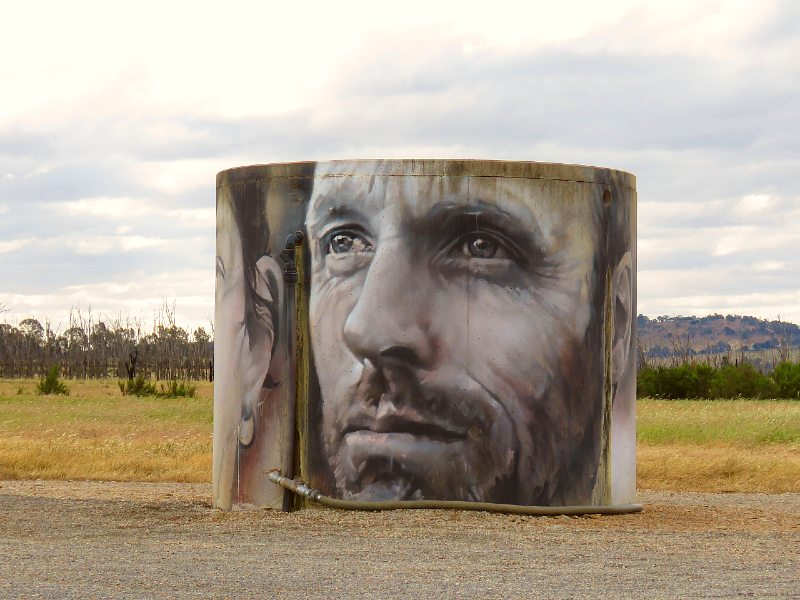 Water tank art on silo art trail of north-east Victoria