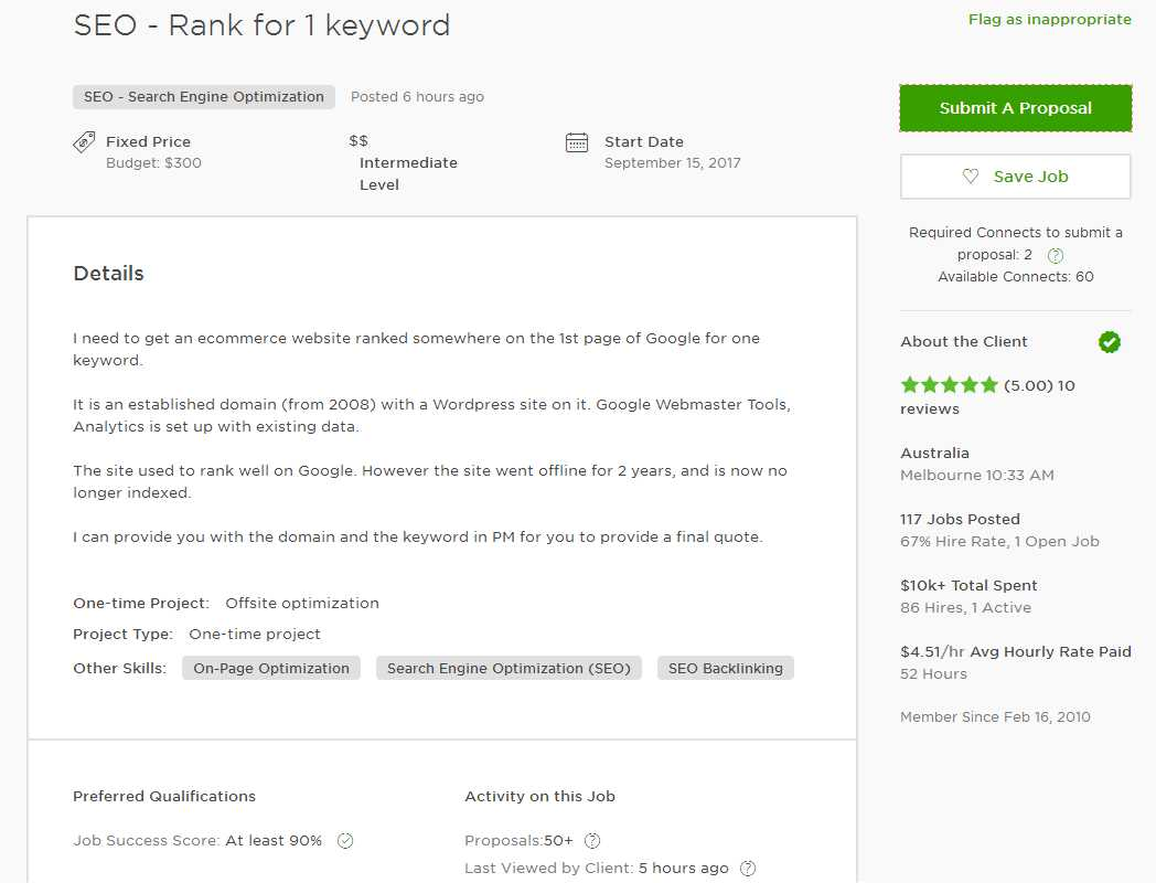 Upwork Cover Letter For SEO