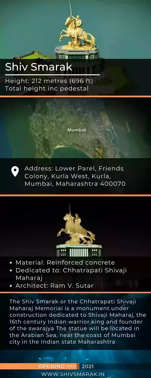 shiv smarak biggest statue info weight address