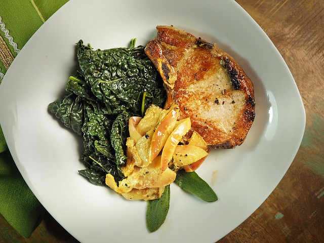 Grilled Pork Chop, Steamed Kale, Homemade Applesauce
