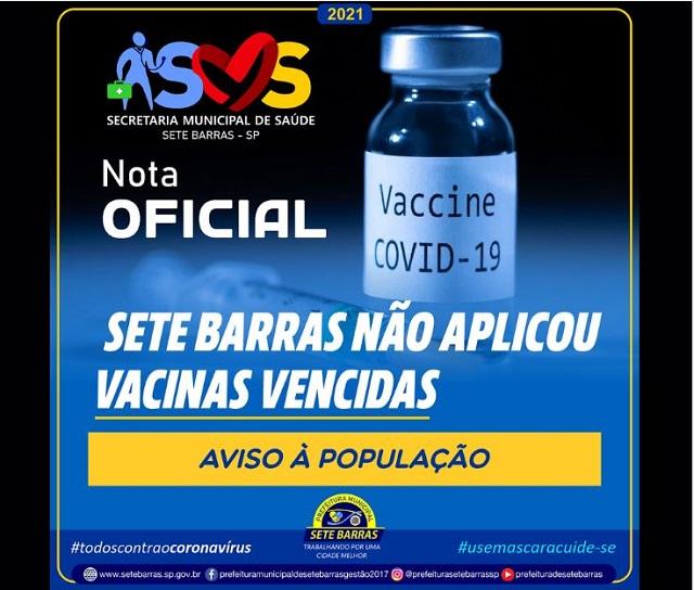Sete Barras não recebeu lotes e nem aplicou vacinas vencidas da COVID-19